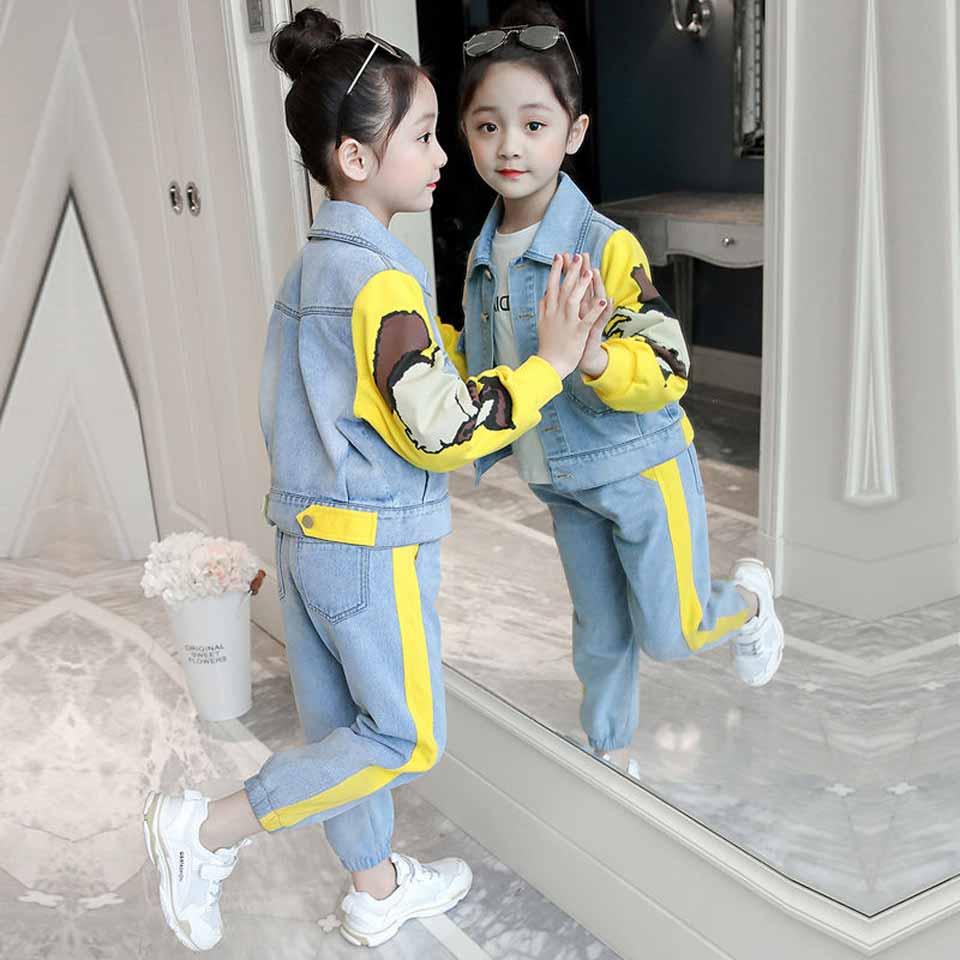 Комплекты одежды для девочек; коллекция 2019 года; модные детские куртки для активного отдыха; пальто и джинсы; комплект со штанами; одежда для детей; осенний спортивный костюм; спортивный костюм|Комплекты одежды| | - AliExpress