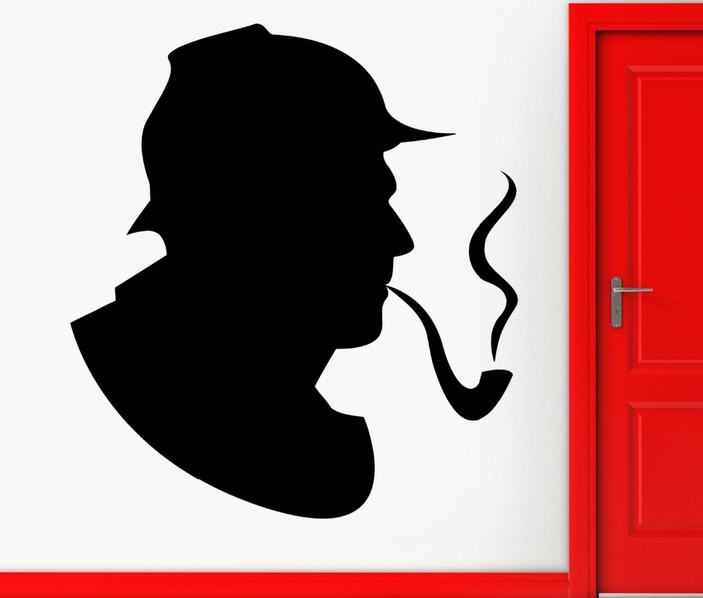 Sherlock Holmes Detective Wall Stickers Handsome Portrait Tobacco Pipe Pattern Wall Decal Smoke Kids Room Interior Decor SYY608