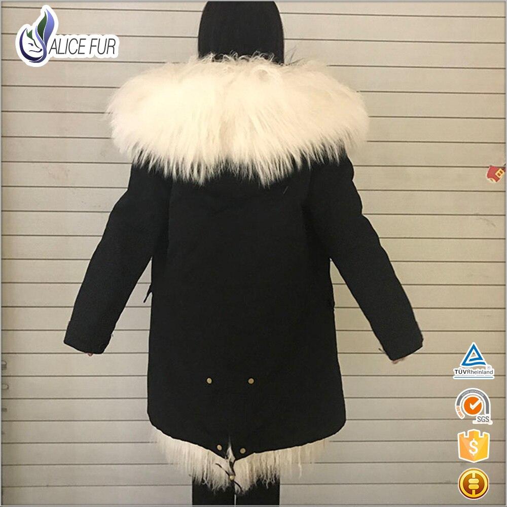 con animali pelli nero donna Mongolia pecore reale Moda Parka RqxO7wn