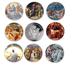 8pcs/set 999.9 Silver Plated Jesus Coin Home Decorative Christian Commemorative Challenge