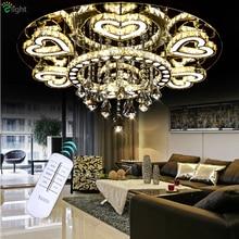 Luxury Modern Lustre De Cristal Ceiling Led Chrome Chandelier Mirror Steel Romantic Acrylic Heart Design Chandelier Light