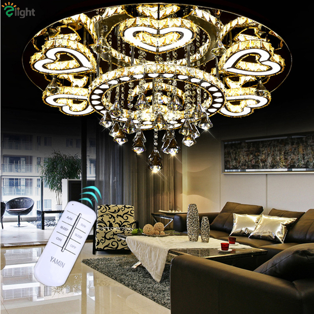 Luxury modern lustre de cristal ceiling led chrome chandelier mirror steel romantic acrylic heart design chandelier