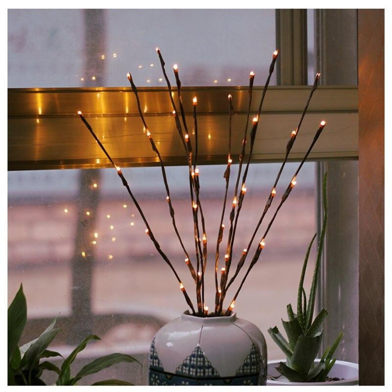 Wrumava 20 40LED Led Tree Light Battery Powered Christmas Fairy Wedding Decoration Indoor Table Lamp Luminarias Night Light все цены