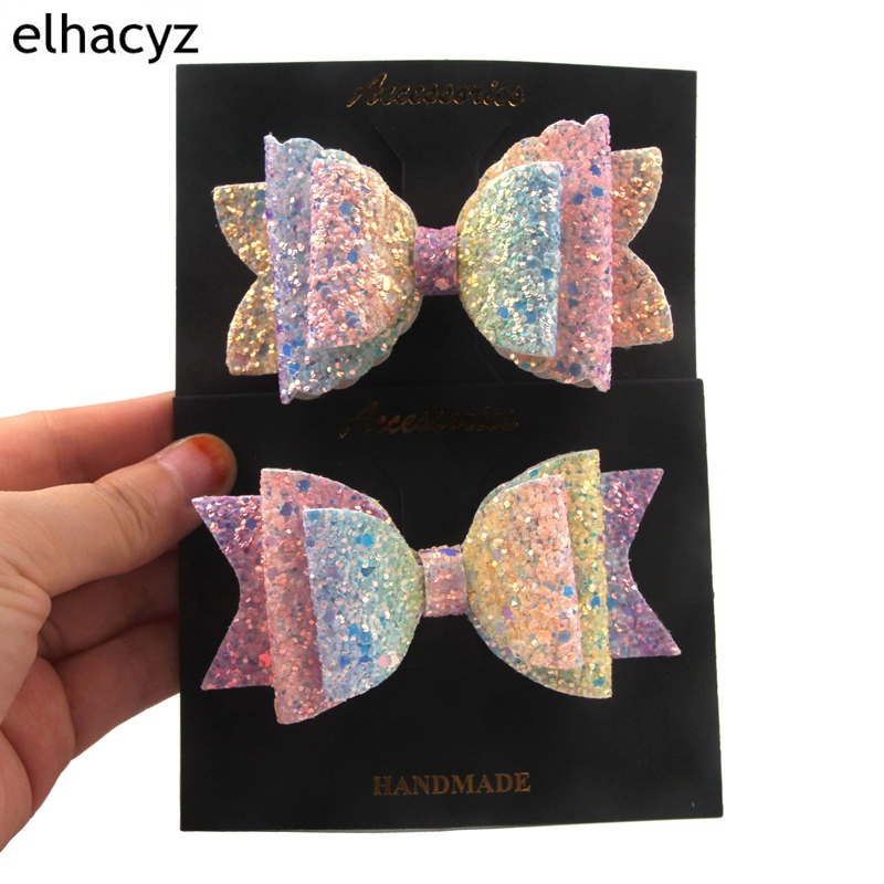 Candy Color Bowknot Hair Accessories Hairpin Clips Glitter Lolita Rainbow Hair Bows Tie Party DIY   Headwear   Cute Girls Barrette