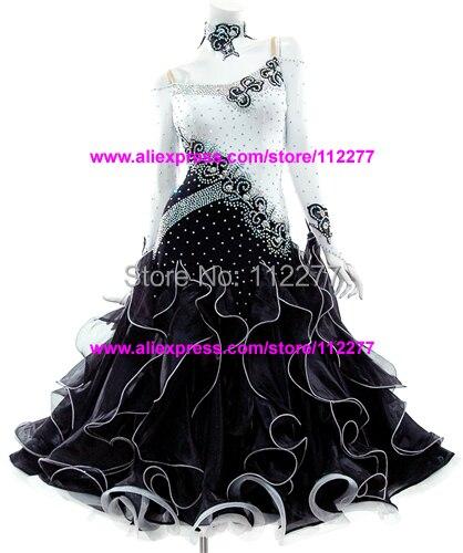 Ballroom Dance Skirt Modern Dance Costume Black And White  Dress Ballroom Dance Skirt,juvenile Dance Clothing,stage Dress