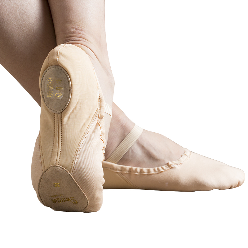 SWIGA cotton bamp elasticitc heel flesh ballet dance shoe