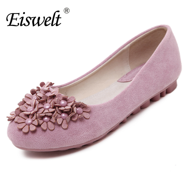 EISWELT Fashion Office Round Toe Women Shoes Flat Shoes Spring Autumn Casual Flats Women Shoes Color Purple Black Pink#EZJF109 mcckle 2017 fashion woman shoes flat women platform round toe lace up ladies office black casual comfortable spring