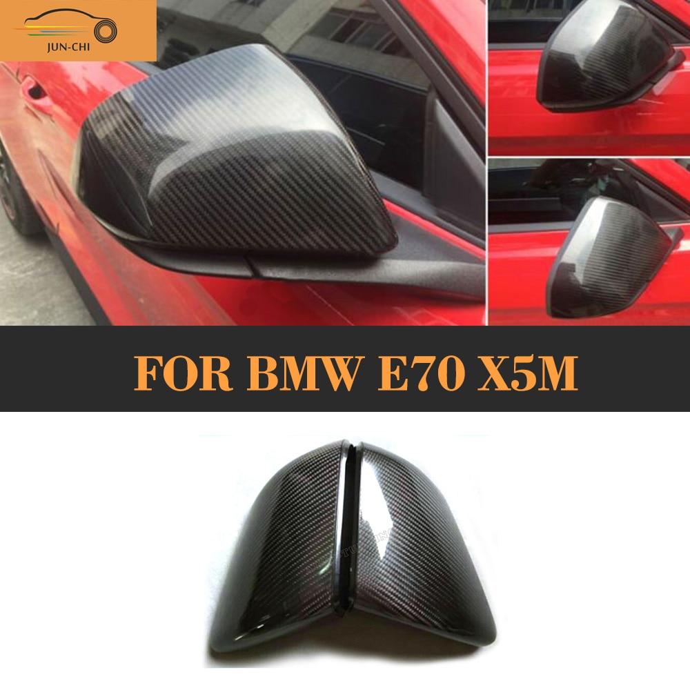 Fibre de carbone ajouter sur le côté rétroviseur housse pour BMW E70 X5M 2007 2008 2009 2010 2011 2012 2013 bâche de voiture