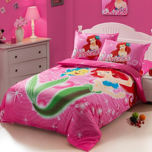 The Little Mermaid Hot Pink Kids S Cartoon Baby Bedding Set Twin Size Bedspread Duvet Cover