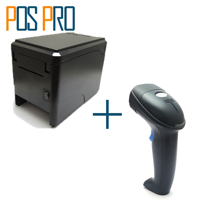 ITPP019+IPBS052 Factory price 80mm pos printer,thermal printer,1D Barcode Scanner,for restaurant,shopping market,warehouse