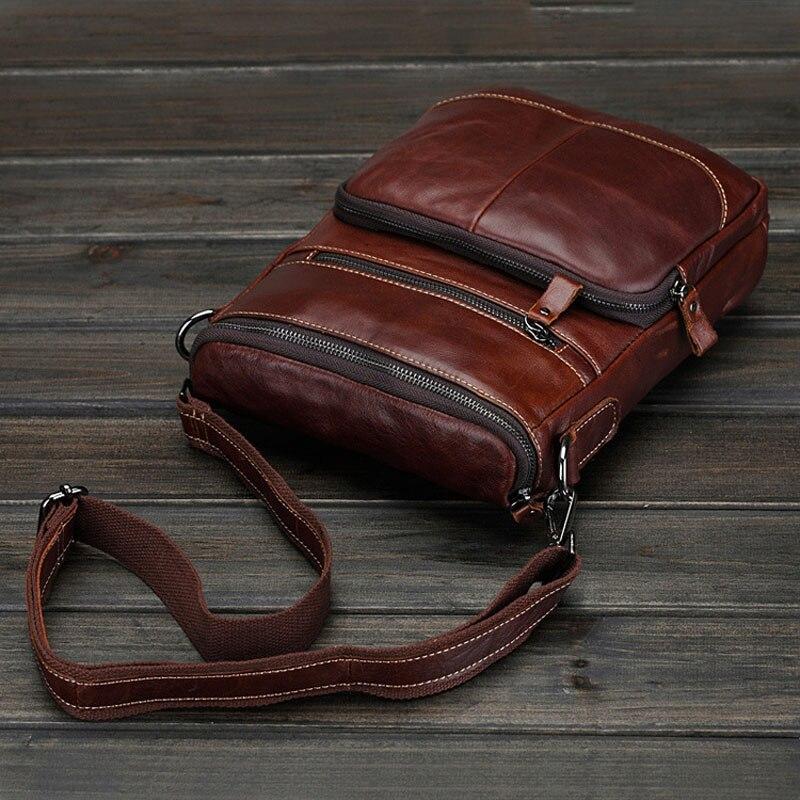 70dba05340a5 Brand Men Genuine Leather Crossbody Bag Vintage Oil Waxing Handmade  Messenger Shoulder Bag Small Handmade Sling Bag for Men 085-in Crossbody  Bags from ...