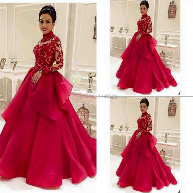 Burgundy Ball Gown High Collar Organza Prom Evening Dresses Gown ...
