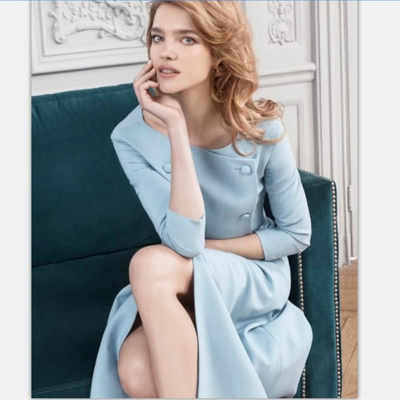 Women Dress 2019 High Quality Autumn Designer Runway O Neck Three Quarter Sleeve Double Breasted Elegant