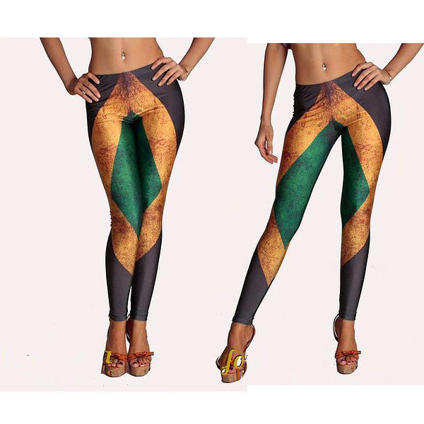 Yomsong Russia explosion models JAMAICA FLAG  and fitness leggings Stretched Strip Women's Leggings   1503