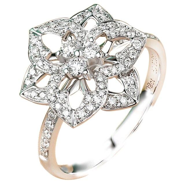 EDI Цветок Формы Природных Алмазов Кольцо 18 К Белое Золото Романтическая Любовь Реальная Алмаз Обручальное Обручальное Кольцо Для Женщин Ювелирные Изделия подарки