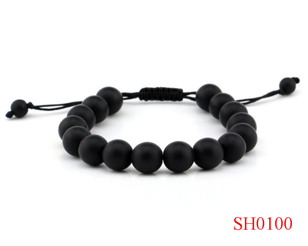 Fashion 10mm Natural Stone Bead Real Matte Black Onyx Bracelet For Women Men Braided Rope Bracelets Reiki Spiritual Yoga Jewelry In Chain Link
