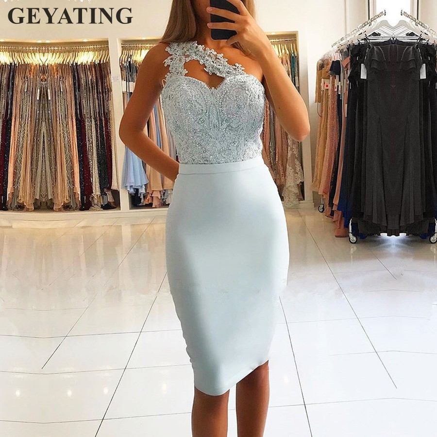 Light Sky Blue Short Knee Length Cocktail Dresses 2019 New One Shoulder Lace Appliques Women Formal Party Gowns Homecoming Dress