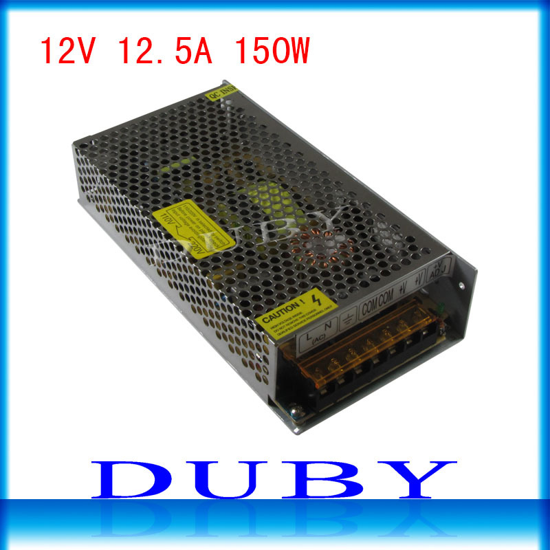 10piece/lot Big Volume 12V 12.5A 150W Switching power supply Driver For LED Light Strip Display AC100-240V Free Fedex 2015 new 12v 12 5a 150w switching power supply driver for led light strip display ac100 240v best qulity