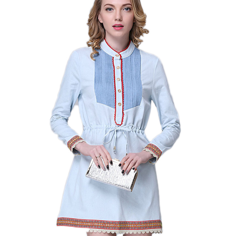 Autumn Summer Denim Office Overall Dress Women Suspenders Blue Cotton Stand High Waist Slim Body Femme Robes Clothing Vestidos