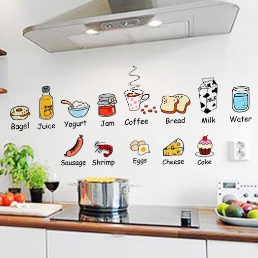 Creative cartoon kitchen door stickers fridge stickers ...
