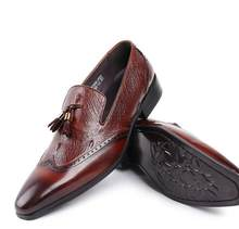 3531bbc77bb128 Pointed toes Men's Dress Shoes Slip-On Smart Casual Tassels Genuine Leather Carved  Gradient Male Oxfords Flats Loafers Formal