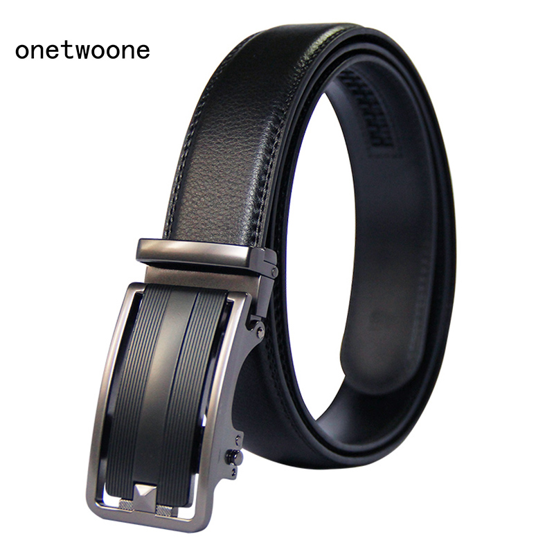 Brand Fashion Automatic Buckle Black Genuine Leather Belt Men's Belts Cow Leather Belts for Men Business Straps 3.5cm Width