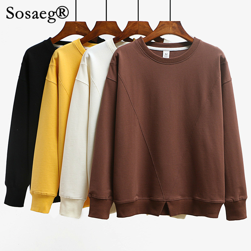 Sosaeg Mince sweat pour femmes Printemps Col Rond Solide Couleur vêtements tops hip hop japonais mignon sweat-shirts harajuku hoodie