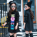 Children Girls Black Velvet Turtle Neck Long Render Clothes Autumn Winter T-shirt Kids Clothing Black Printing Cotton