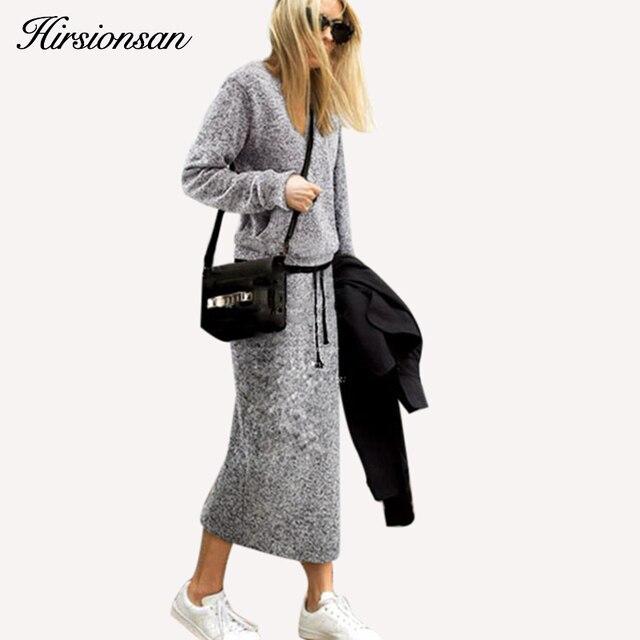 2 Pcs Ladies Sweater Sets Women Autumn Winter Sweater Dress