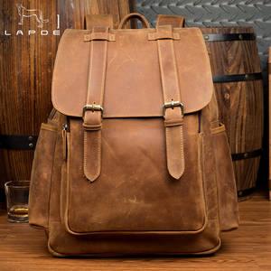 5309c7b2a54e LAPOE Man Genuine Leather school teenage Backpack Bags