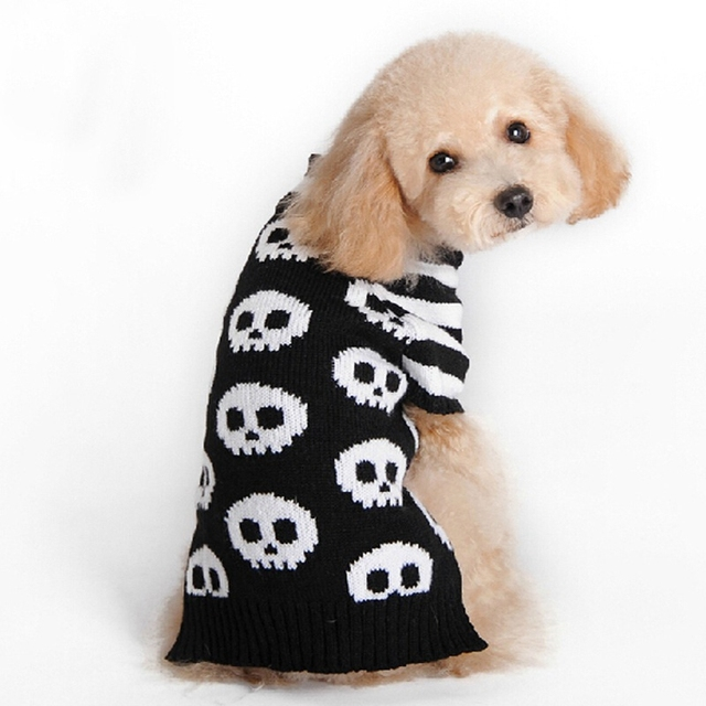 Halloween Skull pet dog sweater for autumn winter wholesale warm ...