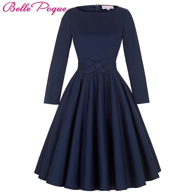 Belle Poque Women Dresses Retro 50s Vintage Dress Pinup Swing Robe  Rockabilly Long Sleeve O-Neck Cotton Casual Party Vestidos c4a82180f2e0