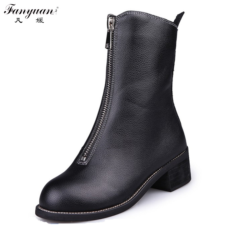 Discount 2016 Autumn Square Heel Round Toe Ladies' Ankle Boots Fashion Front Zipper Black Riding Boots for Women
