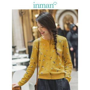 INMAN Spring Autumn Pretty Literary All Matched O-neck Long Sleeve Button Women Cardigan