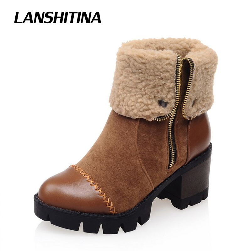 LANSHITINA Women Ankle Boots Square Heels Shoes Short Fur Zipper Boot Leisure Platform Shoes Boots Round