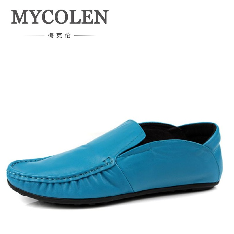 MYCOLEN High Quality Men Casual Shoes Fashion Men Flat Shoes Full Genuine Leather Men Loafers Slip On Moccasins Shoes Men 2016 men s casual crocodile genuine leather boat shoes slip on velvet loafers moccasin fashion flat shoes men s loafer shoes new