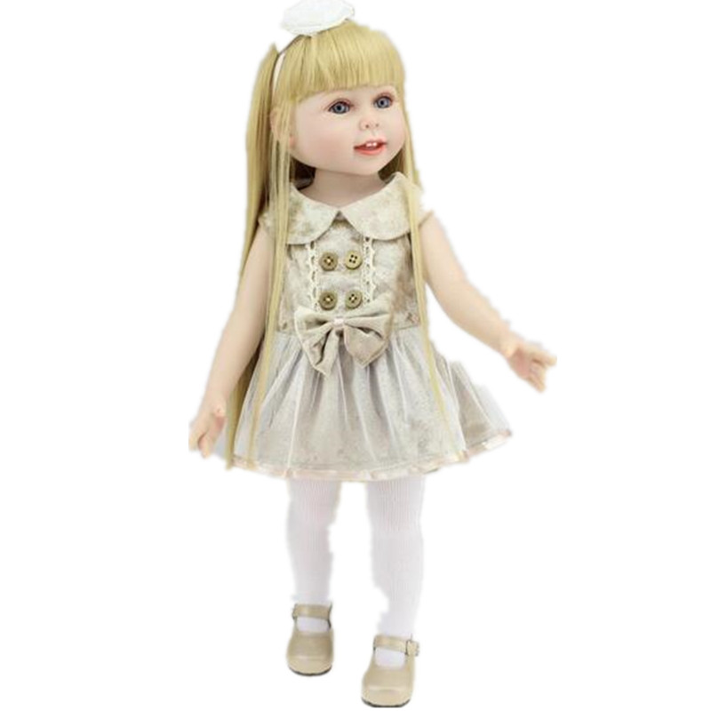45cm Full Silicone AMERICAN GIRL DOLLS 18In Our Generation Doll Princess Reborn Babies Baby Reborn Best Gifts Girl Doll Reborn недорого