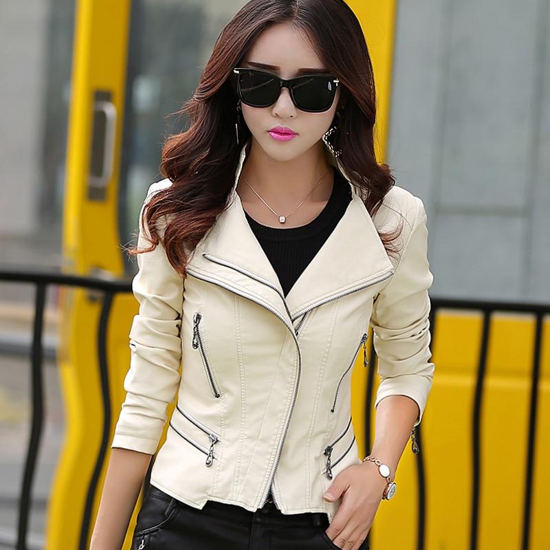 leather jacket women slim short design motorcycle leather jackets