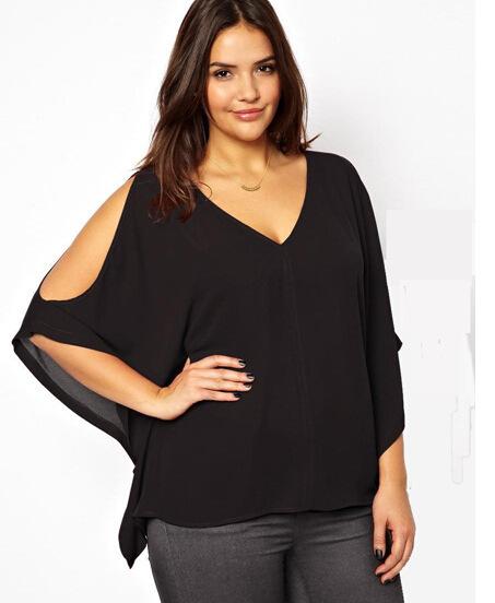 2016 Caliente de gran tamaño de la mujer T-shirt de comercio exterior modelos de explosión sin tirantes sueltos de manga corta camisa de gasa bate 3XL-6XL