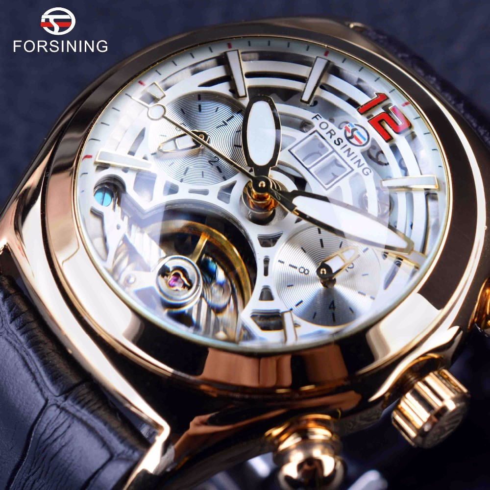Forsining Legend Tourbillion Series 3D Glass Design Genuine Leather Strap Mens Watches Top Brand Luxury Calendar Automatic Watch