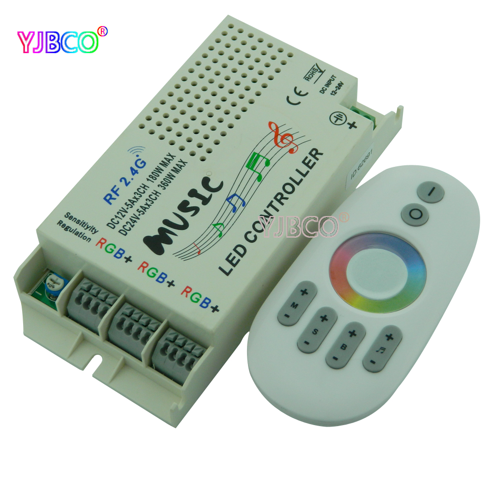 2.4G music RGB controller DC 12V 24V&Wireless Remote For 5050 3528 3014 RGB Led Strip light Led Control Music Conductor