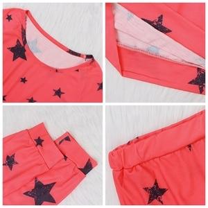 Image 5 - Женский пижамный комплект со звездами, Осень зима, мягкая удобная Пижама, домашний костюм, женская пижама, топ и штаны, пижамный комплект
