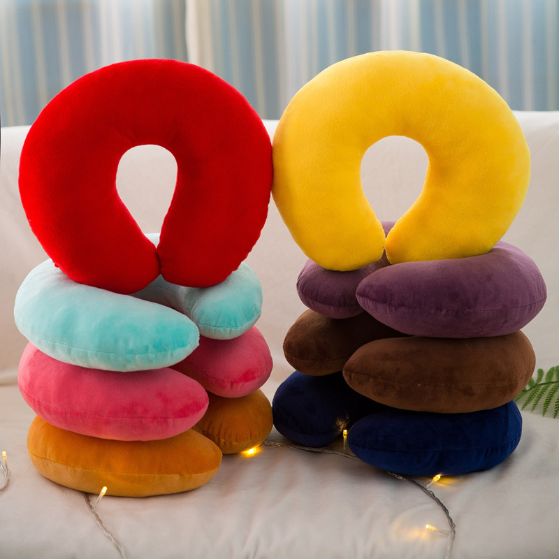INS Solid Color U-Pillow Car Airplane Neck Protection Travel Cervical Pillow Napping Pillow Gift