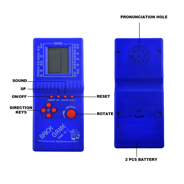 "Classic Childhood Tetris Hand held 2.7"" LCD Electronic Game Toys Pocket Game Console Handheld Game Players"