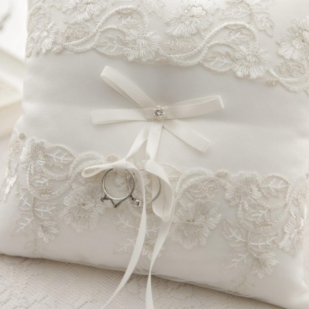 bearer pillow wedding flower girl diamond cushion satin basket itm bowknot ring