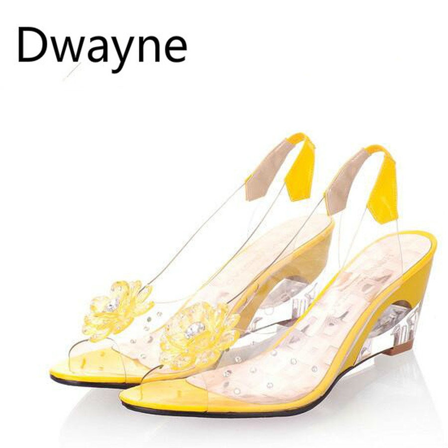Dwayne 2018 wedges sandals women summer sweet flowers transparent high-heeled slippers fish mouth sandals size 33-43 summer foreign trade womens high heeled fish mouth sandals crystal glitter transparent women s high heeled fish mouth sandals