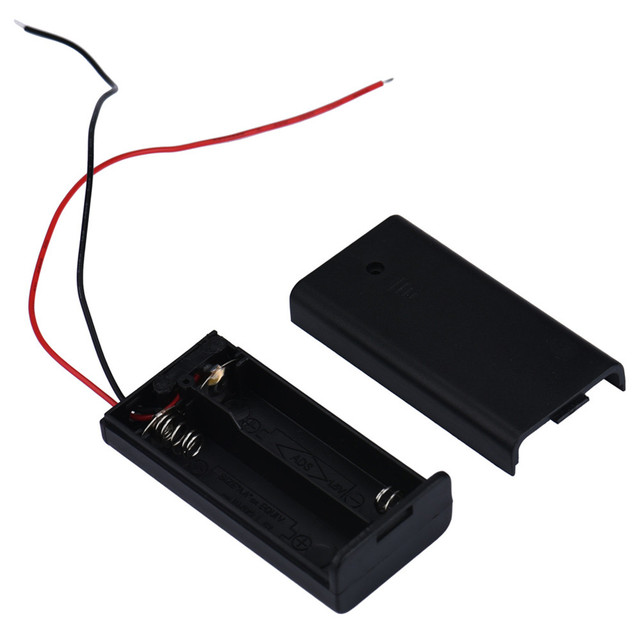 1PCS AA 3V Battery Holder Connector Storage Case Box ON/OFF Switch With Lead Wire for 2PCS AA Battery High Quality #ED