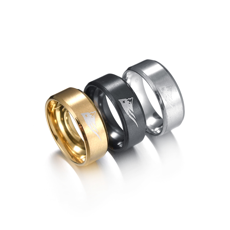 DuoTang New England Patriots Sign Black Gun Plated Stainless Steel Man Rings Trendy Wedding Jewelry Wholesale