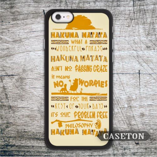 Hakuna Matata Means No Worries Case For iPod 5 and For iPhone 7 6 6s Plus 5 5s SE 5c 4 4s Lovely Funny Cover Free Shipping