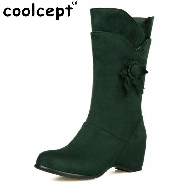 Coolcept Plus size 28-52 women height increasing half short boots winter warm mid calf boot bota classics footwear shoes P21136 taoffen size 30 52 russia women round toe height increasing mid calf boots woman cross strap warm fur winter half shoes footwear